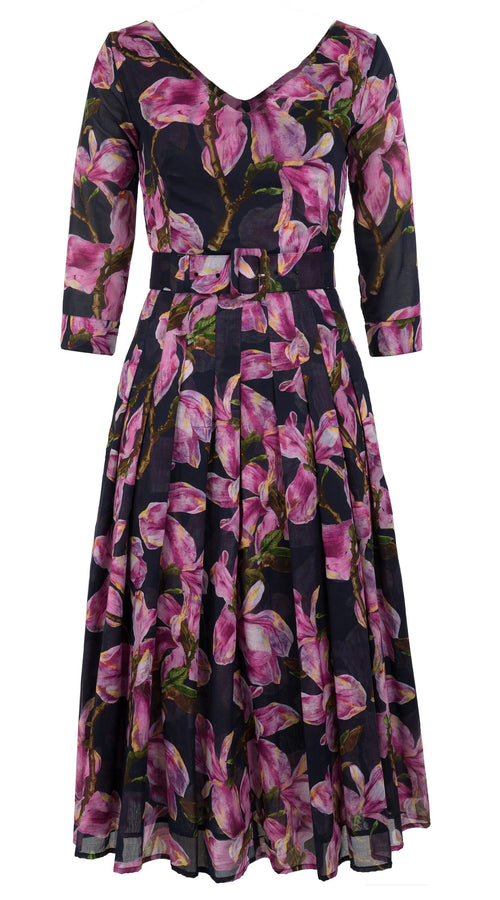 Florance Dress #4 V Neck 3/4 Sleeve Midi Length Cotton Musola (Magnolia Blossom)