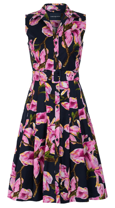Audrey Dress #3 Shirt Collar Sleeveless Cotton Stretch (Magnolia Blossom)