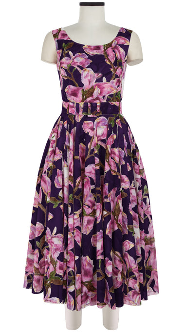 Aster Dress Boat Neck Mini Cap Sleeve Midi Length Cotton Musola (Magnolia Blossom)