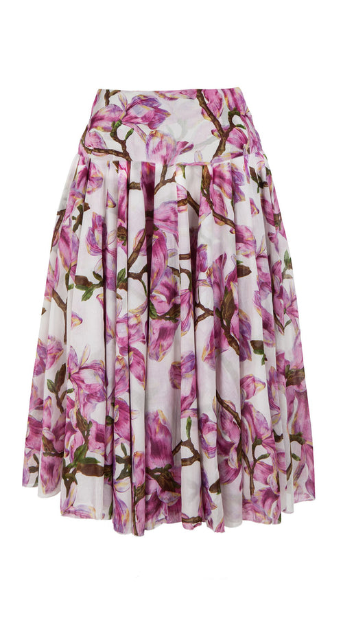Aster Skirt with Yoke Midi Length Cotton Musola (Magnolia Blossom)