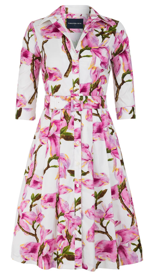 Audrey Dress #3 Shirt Collar 3/4 Sleeve Cotton Stretch (Magnolia Blossom)