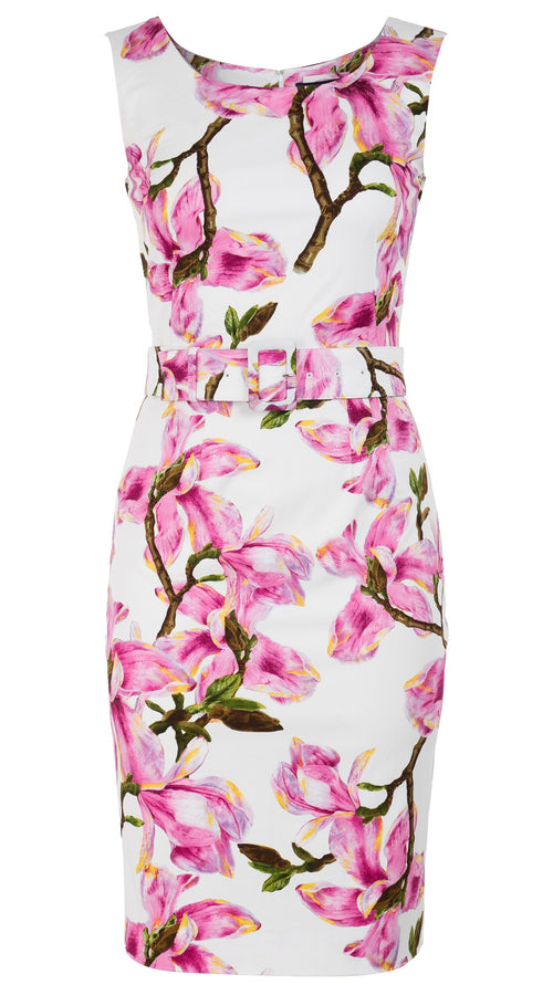 Victoria Dress Boat Neck Mini Cap Sleeve Cotton Dobby Stretch (Magnolia Blossom)