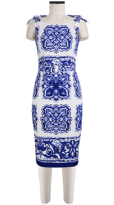Monroe Dress Boat Neck Tie Shoulder Cotton Dobby Stretch (Maiolica Tile)