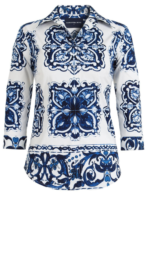 Katharine Shirt 3/4 Sleeve Cotton Stretch (Maiolica Tile)