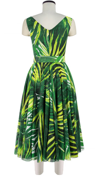 Aster Dress Open V Neck Mini Sleeveless Midi Length Cotton Musola (Mexican Palm)