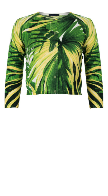 Lynette Cardigan Crew Neck 3/4 Sleeve_70% Silk 30% Cashmere_Mexican Palm_White Green
