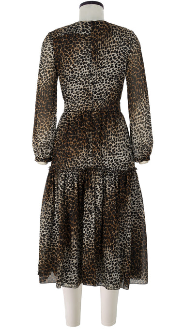 Tiffany Dress Crew Neck Long Puff Sleeve Long +3 Length Cotton Musola (Mini Cheetah)