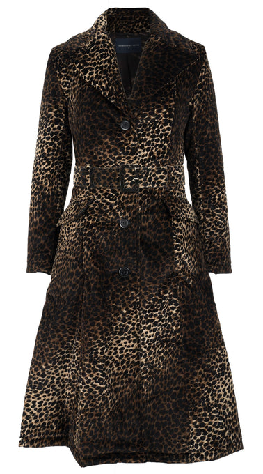 Antonina Coat Shirt Collar Long Sleeve Long Length Velveteen (Mini Cheetah)