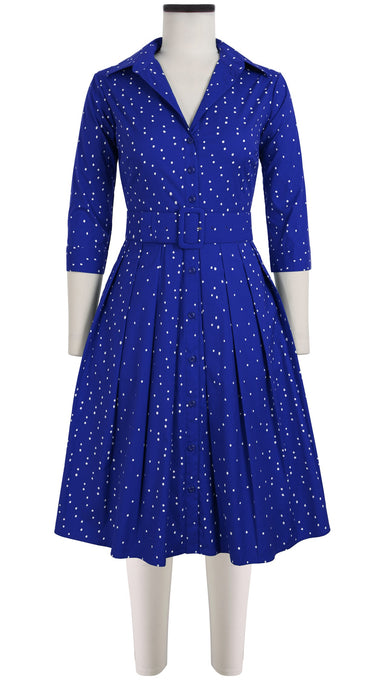 Audrey Dress #1 Shirt Collar 3/4 Sleeve Cotton Stretch (Mini Dots)
