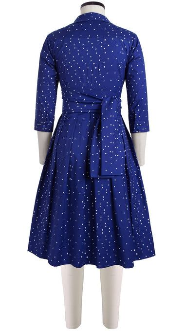 Audrey Dress #1_Mini dots in Admiral Blue_Cotton Stretch_Shirt Collar 3/4 Sleeve