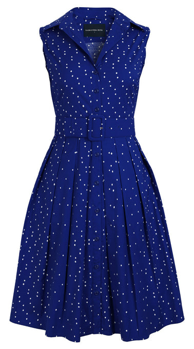 Audrey Dress #1_Mini dots in Admiral Blue_Cotton Stretch_Shirt Collar Sleeveless