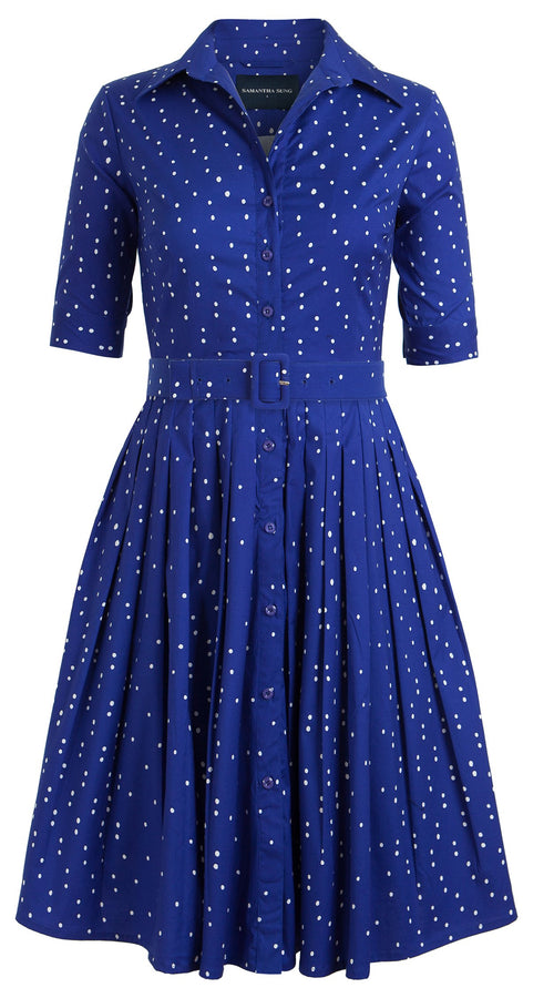 Audrey Dress #2 Shirt Collar 1/2 Sleeve Cotton Stretch (Mini Dots)