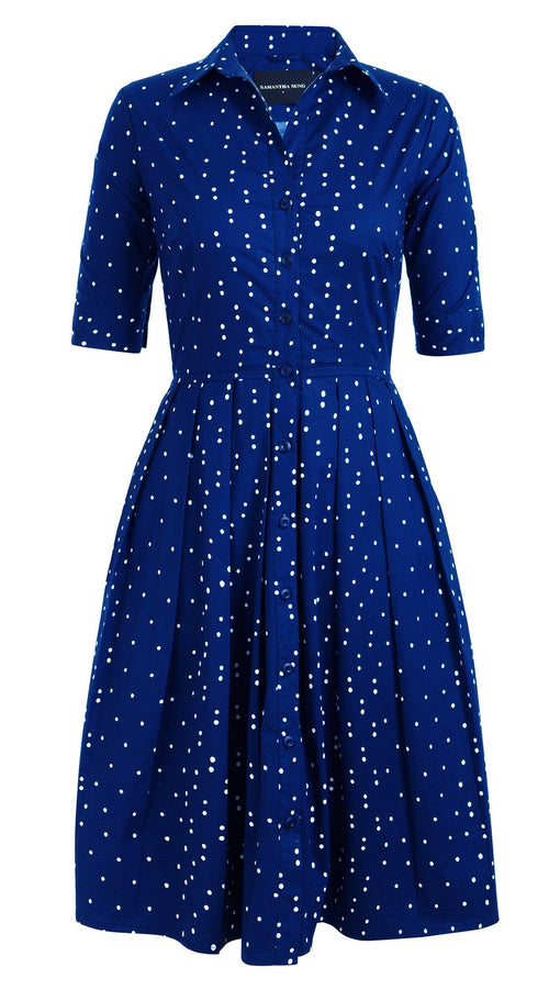 1/2 | Mini Dots | Admiral Blue | Front | Shirt Dress By Samantha Sung