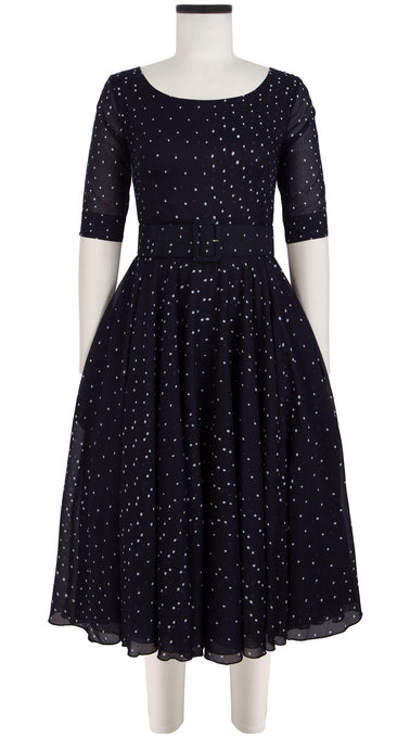 Aster Dress Boat Neck 1/2 Sleeve Cotton Musola (Mini Dots)