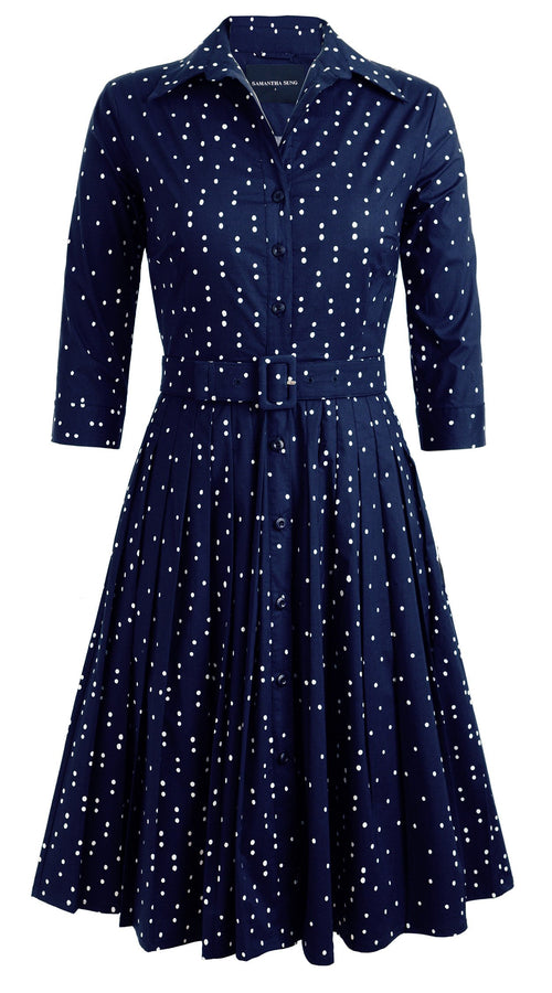 Audrey Dress #2 Shirt Collar 3/4 Sleeve Cotton Stretch (Mini Dots)