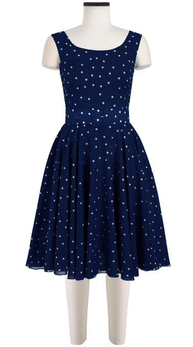 Aster Dress Boat Neck Mini Cap Sleeve Cotton Musola (Mini Star)