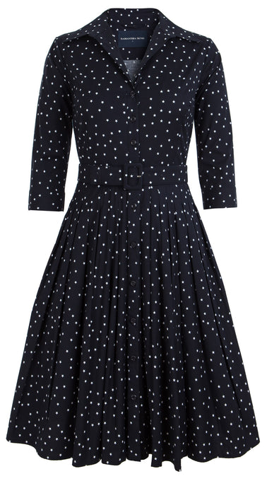 Audrey Dress #2 Shirt Collar 3/4 Sleeve Cotton Stretch (Mini Star Small)