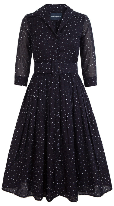 Audrey Dress #2 Shirt Collar 3/4 Sleeve Midi Length Cotton Musola (Mini Star Small)