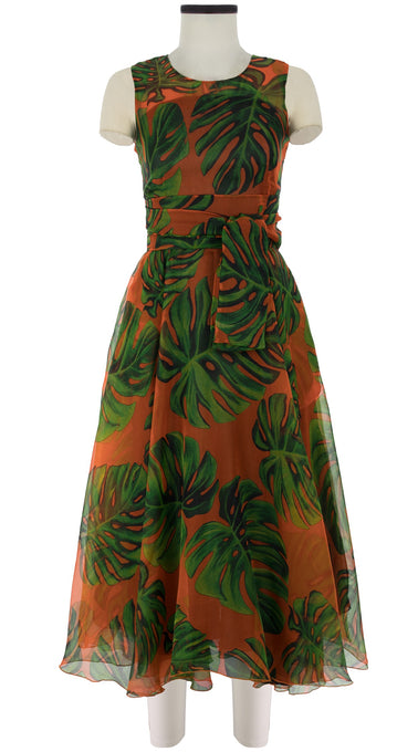 Aster Dress Crew Neck Sleeveless Midi Length Silk Organza (Monster Leaves Bright)