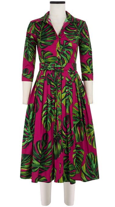 Audrey Dress #2 Shirt Collar 3/4 Sleeve Midi Length Cotton Stretch (Monster Leaves Bright)