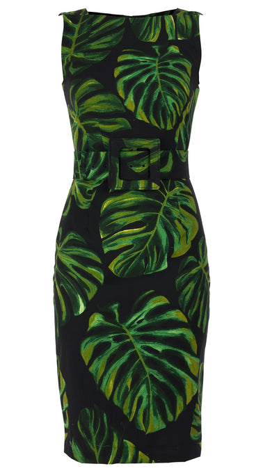 Celine Dress High Boat Neck Sleeveless with Hamilton Belt Cotton Dobby Stretch (Monster Leaves)