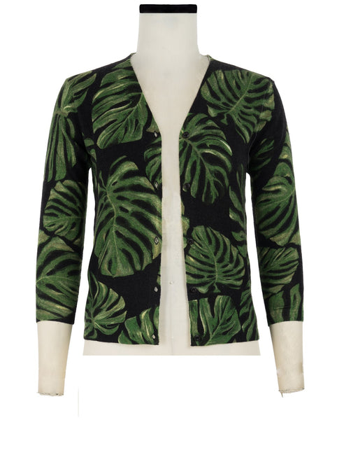 Charlotte Cardigan V Neck 3/4 Sleeve_70% Silk 30% Cashmere_Monster Leaves_Black Green