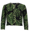 Lynette Cardigan Crew Neck 3/4 Sleeve_70% Silk 30% Cashmere_Monster Leaves_Black Green