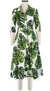 Abel Dress #3 Shirt Collar Elbow Sleeve Midi Length Cotton Stretch (Monster Leaves)