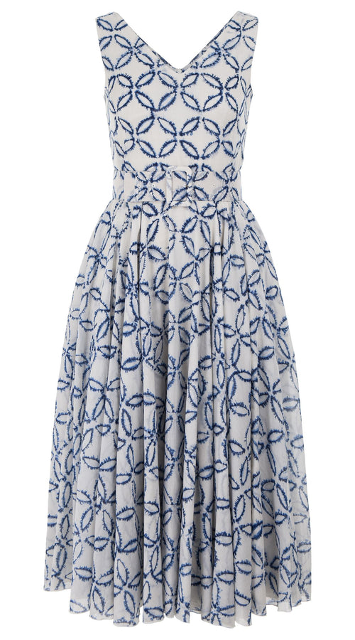 Aster Dress Open V Neck Sleeveless Midi Length Cotton Musola (Moon Shibori)