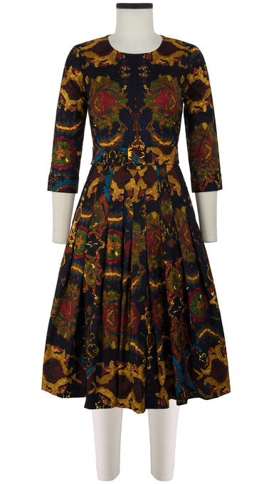 Florance Dress #4 Crew Neck 3/4 Sleeve Long Length Cotton Stretch (Moroccan Carpet)