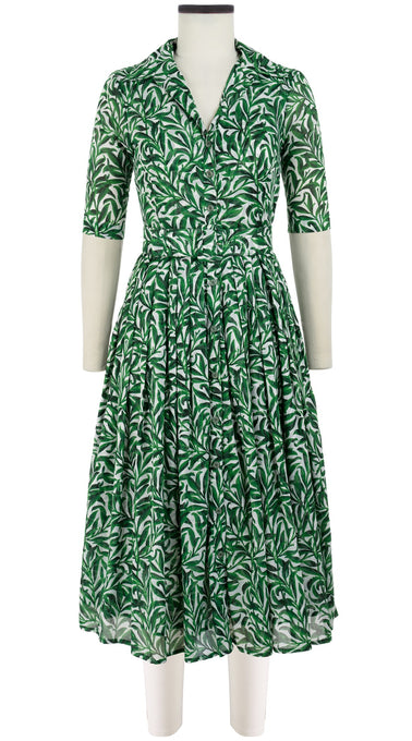 Audrey Dress #2 Shirt Collar 1/2 Sleeve Midi Length Cotton Musola (Morris Leaves)