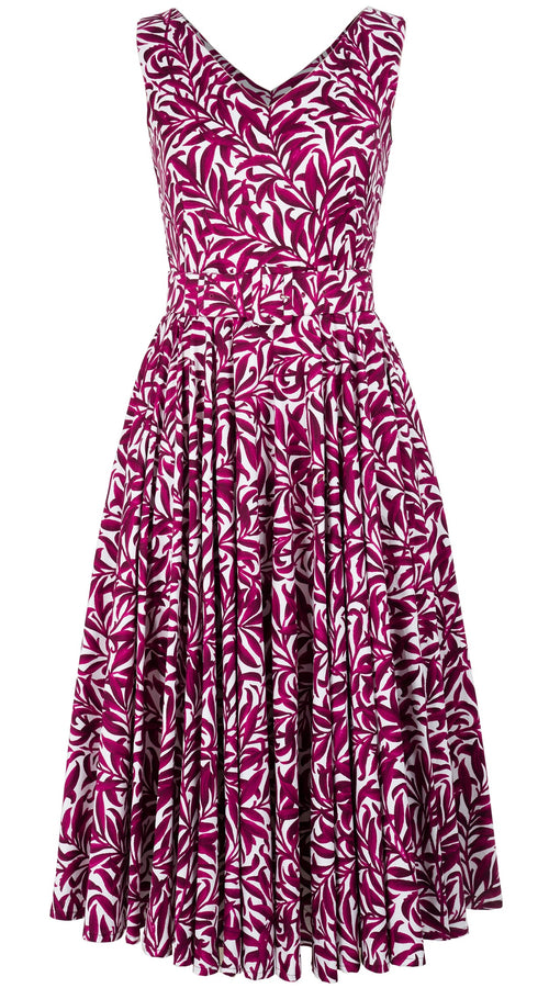 Gigi Dress Open V Neck Sleeveless Midi Length Cotton Stretch (Morris Leaves)
