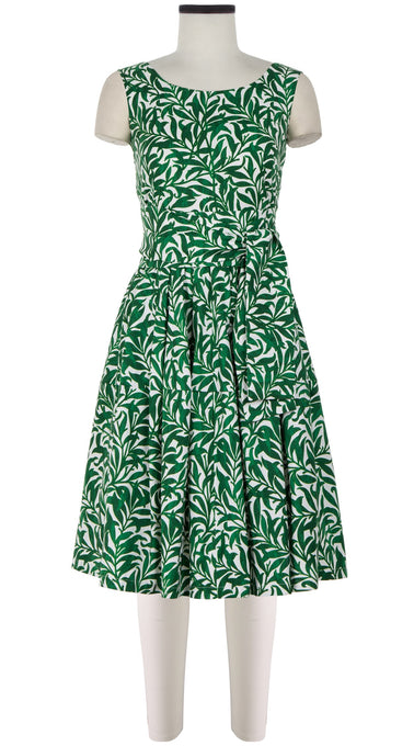 Rachel Dress Boat Neck Mini Cap Sleeve Cotton Stretch (Morris Leaves)