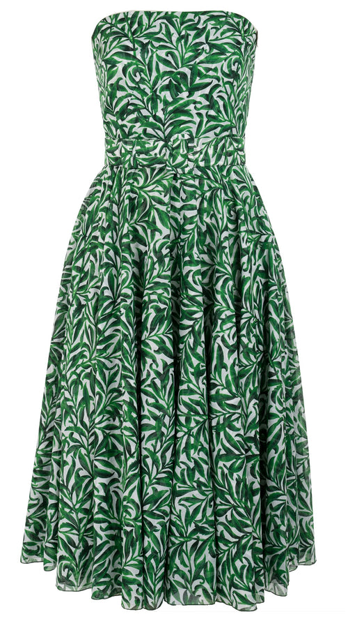 Tailor Dress Tube Strapless Midi Length Cotton Musola (Morris Leaves)