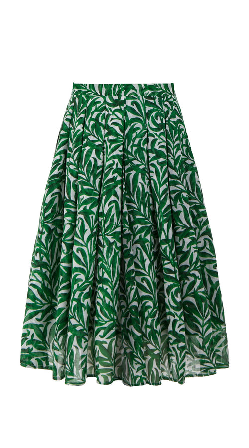 Zeller Skirt Long Length Cotton Musola (Morris Leaves)
