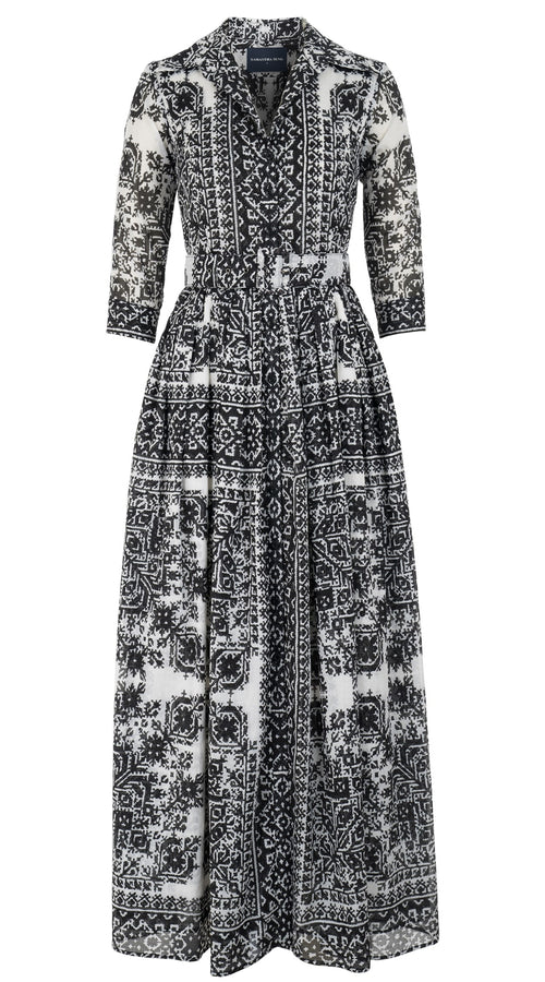 Audrey Dress #2 Shirt Collar 3/4 Sleeve Maxi Length Cotton Musola (Morrocan Embroidery)