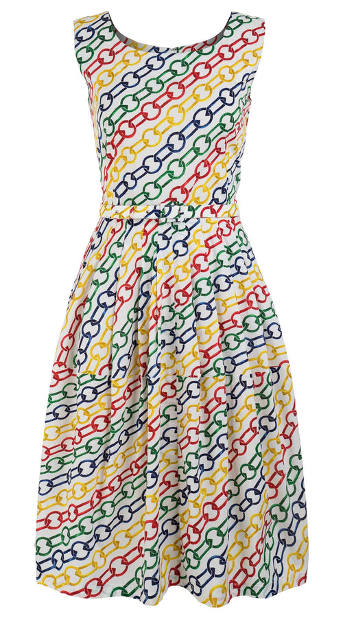 Rachel Dress Boat Neck Sleeveless Long Length Cotton Stretch (Multi Color Chain)