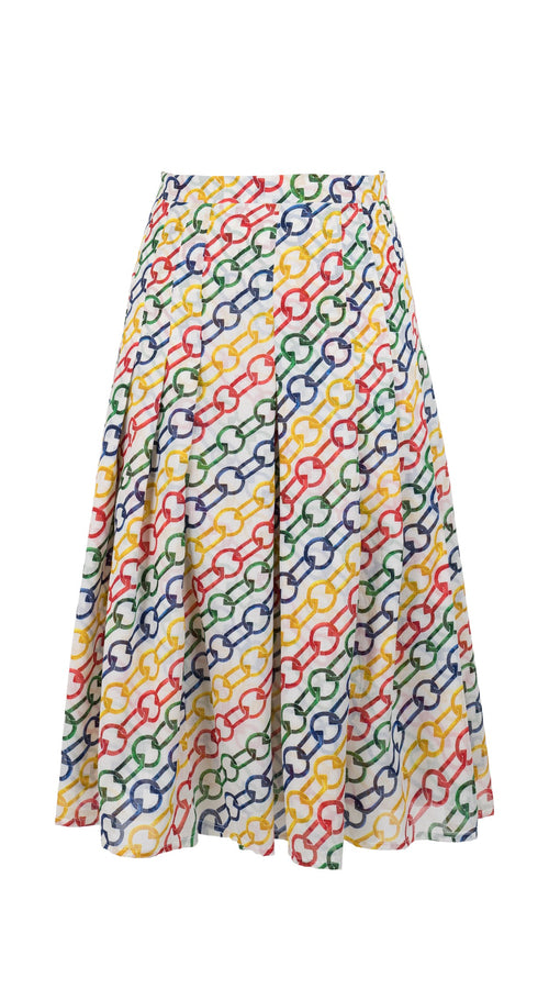 Zeller Skirt Long Length Cotton Musola (Multi Color Chain)
