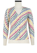 Charlotte Cardigan V Neck 3/4 Sleeve_70% Silk 30% Cashmere_Multi Color Chain_White