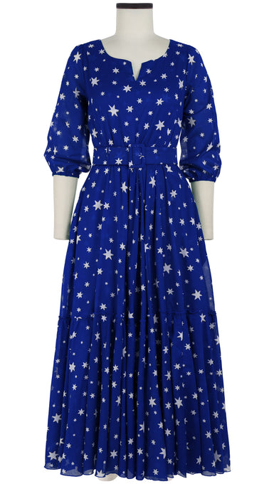 Anna Dress Boat Slit Neck 3/4 Sleeve Ankle Length Cotton Musola (Mural Star)