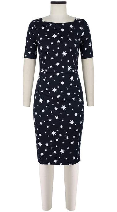 Celine Dress Boat Neck 1/2 Sleeve Cotton Dobby Stretch (Mural Star)