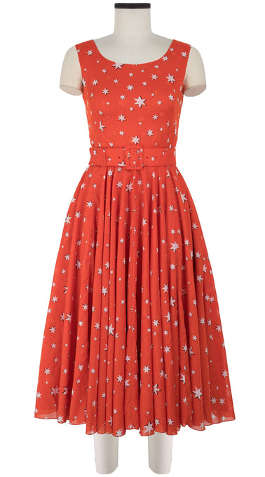 Aster Dress Boat Neck Mini Cap Sleeve Midi Length Cotton Musola (Mural Star)