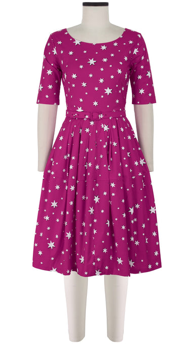 Rachel Dress Boat Neck 1/2 Sleeve Cotton Stretch (Mural Star)