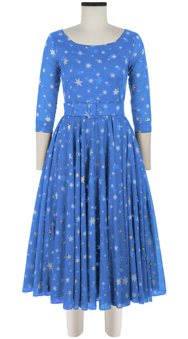 Aster Dress Boat Neck 3/4 Sleeve Midi Length Cotton Musola (Mural Star)