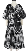 Nina Dress Crew Slit Neck 3/4 Sleeve Ankle Length Linen (Nordic Ikat)
