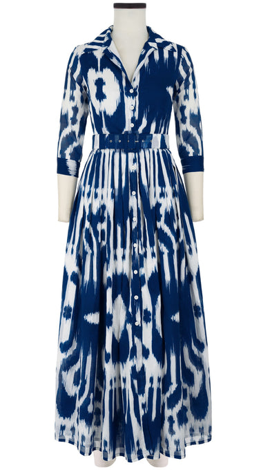Audrey Dress #2 Shirt Collar 3/4 Sleeve Maxi Length Cotton Musola (Nordic Ikat)