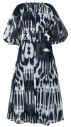 Nina Dress Crew Slit Neck 3/4 Sleeve Ankle Length Cotton Musola (Nordic Ikat)