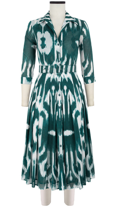 Audrey Dress #4 Shirt Collar 3/4 Sleeve Midi Length Cotton Musola (Nordic Ikat)