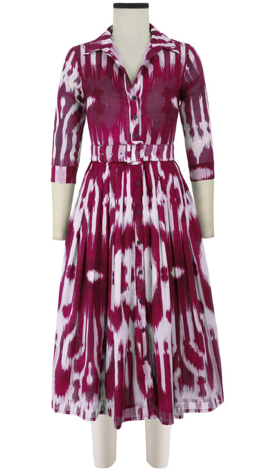 Audrey Dress #2 Shirt Collar 3/4 Sleeve Midi Length Cotton Musola (Nordic Ikat)