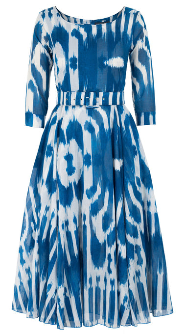 Avenue Dress #2 Boat Neck 3/4 Sleeve Midi Length Cotton Musola (Nordic Ikat)